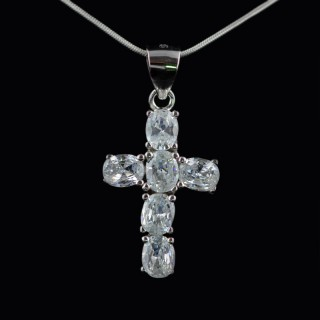 Silver cross with stones